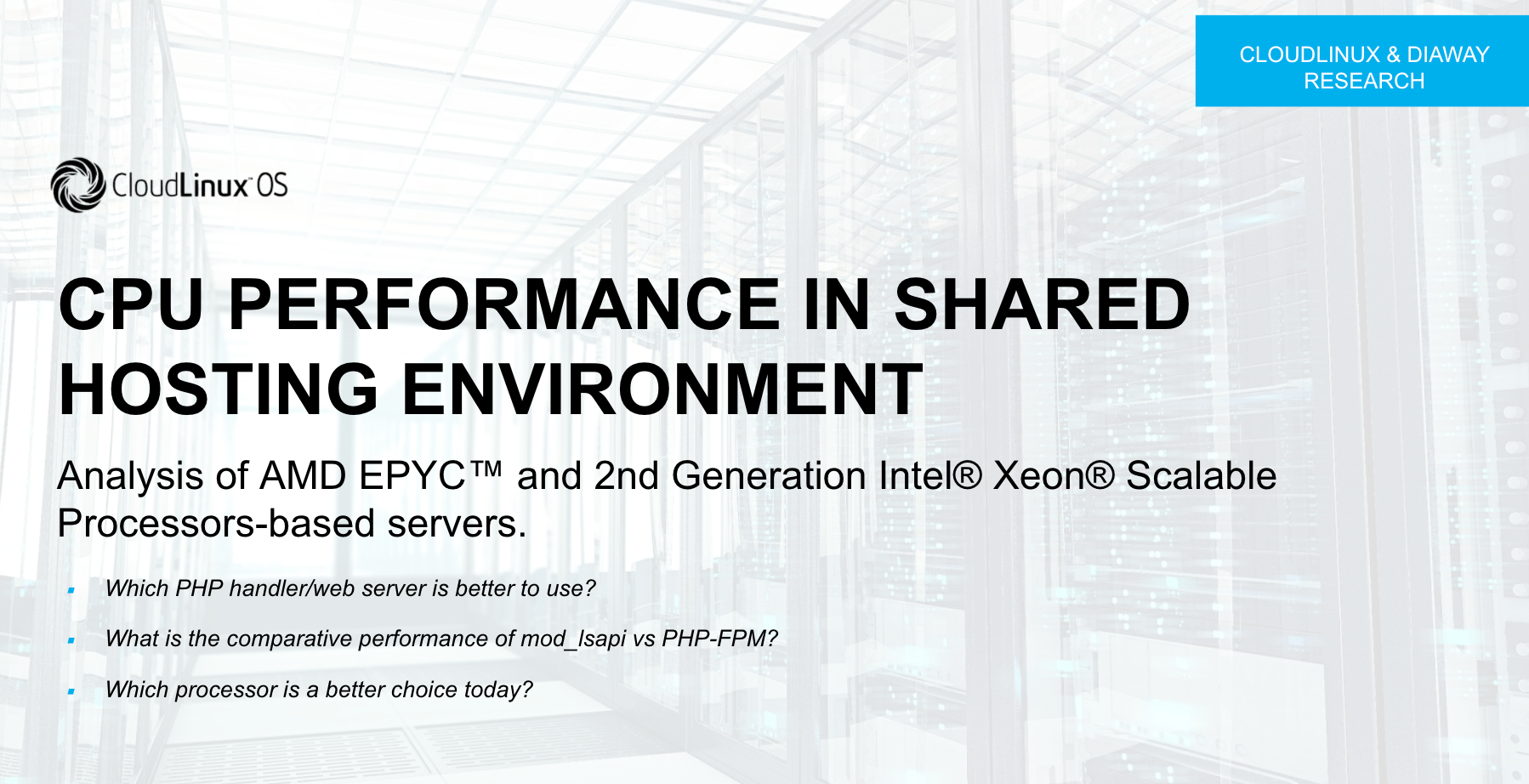 Analysis of AMD EPYC™ AND 2nd Generation Intel® Xeon® Scalable Processors-based servers
